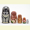 "Wolves and Foxes Nesting Doll - 6"" w/ 5 Pieces"
