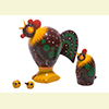 "Realistic Rooster & Hen Nesting Doll - 3"" w/ 4 Pieces"