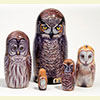"Great Horned Owl Nesting Doll - 6"" w/ 5 Pieces"
