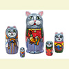 "Rooster Cat Family Nesting Doll - 5"" w/ 5 Pieces"