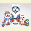 "Christmas Cats Nesting Doll - 5"" w/ 5 Pieces"
