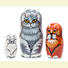"No Evil Cats Nesting Doll - 4"" w/ 3 Pieces"