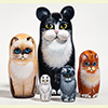 "Black and White Cat Nesting Doll - 5"" w/ 5 Pieces"