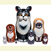 "Black and White Cat Nesting Doll - 7"" w/ 7 Pieces"