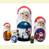 "Santa w/ Christmas Scenes Nesting Doll - 6"" w/ 5 Pieces"