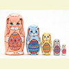 "Easter Bunnies with Eggs Nesting Doll - 5"" w/ 5 Pieces"