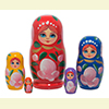 "Rainbow Ladies w/ Roses Nesting Doll - 4"" w/ 5 Pieces"