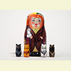 "Autumn Whiskers Surprise Nesting Doll - 3.5"" w/ 4 Cats Inside"