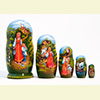 "Alyonushka and Ivanushka Nesting Doll - 5"" w/ 5 Pieces"