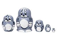 Mini Gray Bunny Nesting Doll