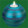 Turquoise Stripes Tea Light Candle Holder